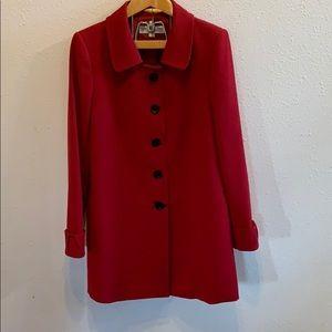 Tahari Levine Red Long Button Dress Coat